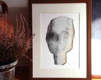 Gray Minimalist Print, Figurative Abstract Fine Art Painting, Modern Wall Art