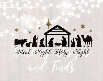 DIGITAL DOWNLOAD nativity svg - silent night svg - manger svg - christmas svg - merry christmas svg - christmas carol svg - religious svg