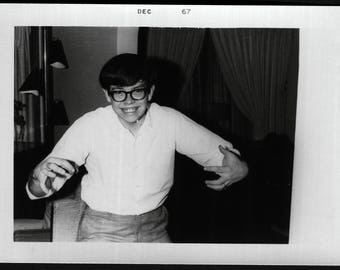 Vintage Snapshot Photo of Nerdy Boy Acting Goofy 1960's, Original Found Photo, Vernacular Photography
