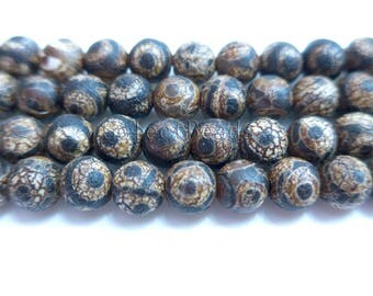 Tibetan Dzi eye beads - Dzi agate beads supplies - Tebetan agate beads wholesale - ancient eye agate beads -jewelry Dzi beads -15inch