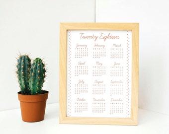 Gold Foil Calendar 2018 Wall, 8x10 Calendar, Minimal Calendar Wall, Year at a Glance 2018