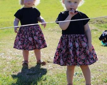Baby Girl Dress, Toddler dress, boho floral spinning dress, rock n roll dress black and pink infant dress, new born to 3T