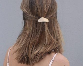 Metal hair clip brass hair barrette minimalist hair clip simple hair accessories brass hair jewelry silver hair accessory modern bun holder