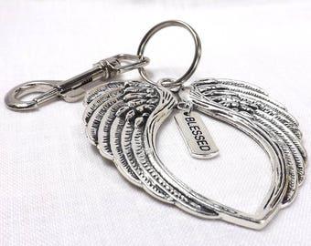 Angel Wings KeyChain Angel Purse Charm affirmation keychain gamersandgoths Blessed Key chain