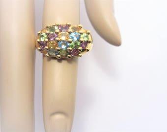 Vintage Multi Stone Gold Vermeil Cluster Ring Size 10