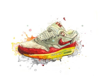 nike trainer, a3 print, nike shoe, shoes, trainers, running card, running shoe, running trainer, sneakers, sneakerhead, trainer art,