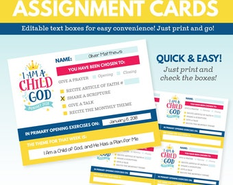 2018 LDS Primary Theme Assignment Cards - I am a Child of God