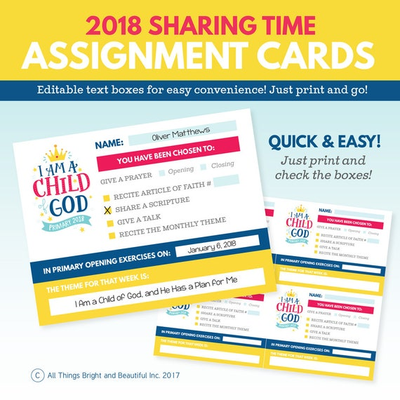 2018 LDS Primary Theme Assignment Cards I Am A Child Of God