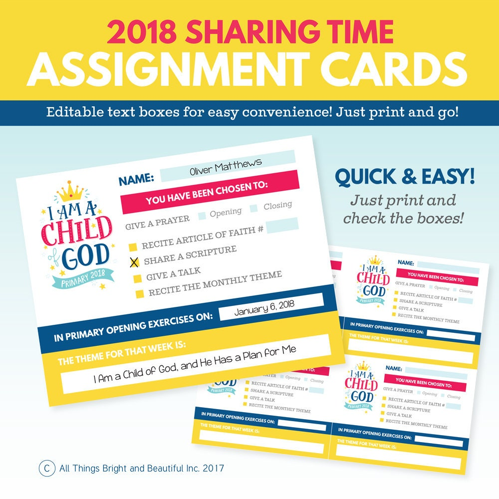 Primary assignment reminders 2019