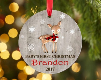 Baby's first Christmas ornament, Boy, Baby Deer Christmas ornament, personalized, ceramic, permanent, boy