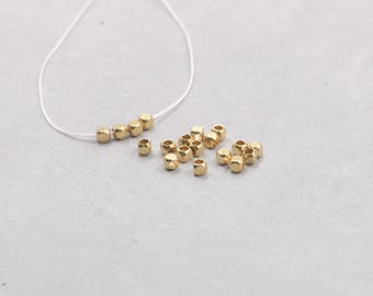 3mm 100Pcs Raw Brass Cube Beads , Hole Size 1.5mm , GY-X885