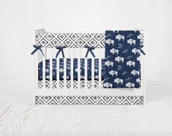 Navy Buffalo Bedding Set. Baby Shower Gift. Baby Bedding. Woodland Crib Set. Buffalo Baby Bedding. Plaid Bedding Set.