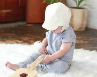 Milk White Cap Cap, Baby Toddler and Kids Sun Hat, Children's Sun Hat, Cap with Chin Straps