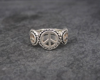 Vintage Sterling Peace Sign Ring Size 6.5