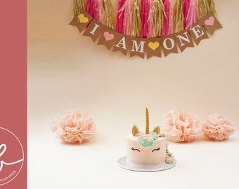 Birthday girl I am one bunting, first birthday party decor, cake smash backdrop