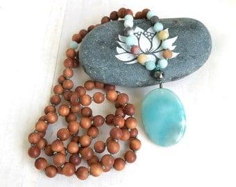 Amazonite Sandalwood Mala Beads, Earthy Mala Necklace, 108 Mala Bead Necklace, Yoga Meditation Beads, Yoga Jewelry, Hand Knotted Mala