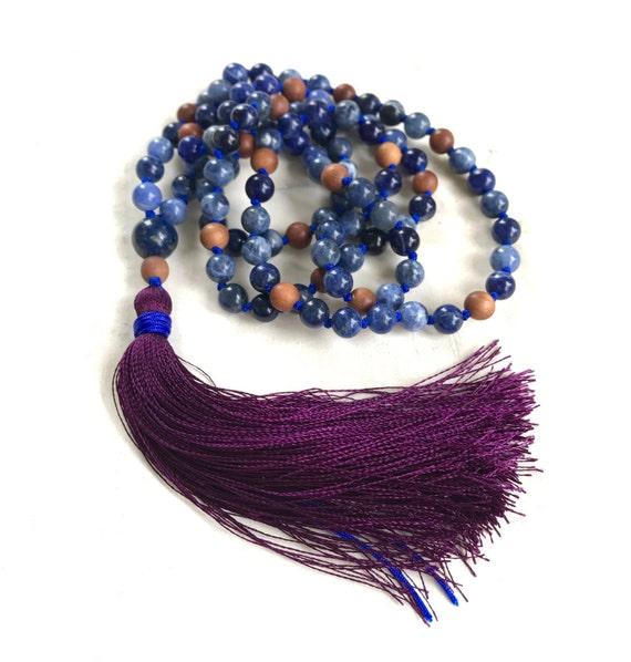 Sodalite and Lapis Lazuli Mala Beads, Mala For Emotional Balance and Good Judgment, Sandalwood Beads and Silk Tassel, 108 Mala Beads