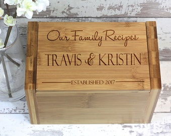 Personalized Wood Recipe Box, Engraved Wooden Recipe Box, Bamboo Recipe Box - Wedding Gift, Couple Gift, Engagement Gift