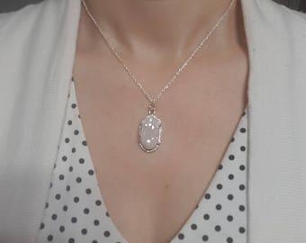 Druzy Quartz Natural Stone Pendant Necklace, White and Silver