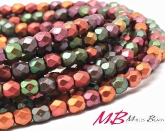4mm 50 pcs Mixed Metallic Iris Fire Polished Beads, Faceted Czech Glass
