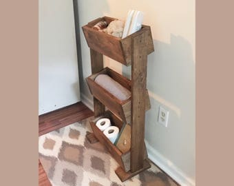 Ladder shelf, Bathroom shelf, farmhouse decor, home organization, rustic ladder shelf, bathroom storage, 3 tier planter box