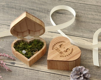 Heart Wedding Ring Box, Engagement Ring Proposal Box, Wood Ring Bearer Box, Engraved Ring Holder, Rustic Wedding