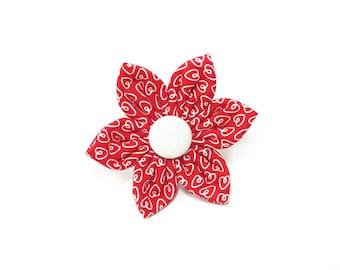 Valentine's white Hearts Flower for Dog collar, Cat collar, collar flower, pet collar flower, wedding flower, flowers for dog collars