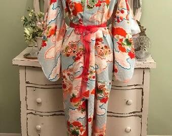 1940s Vintage Kimono, Vintage Kimono, Vintage Furisode, One Size, Multi Color Kimono, Vintage 40s Kimono, Hollywood Glam, Japanese Kimono