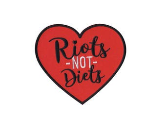 Feminist iron-on embroidered patch - riots not diets - body, positive, girl power, wearable, art, punk, hand-drawn, political, original,