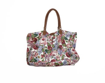 Vintage 90s Floral Print Large Cotton Duffel Bag