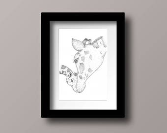 Mother And Baby Giraffe, Pen And Ink Art Work