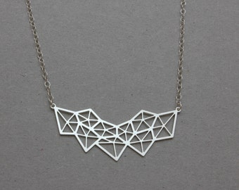 Silver Geometric Diamond Necklace