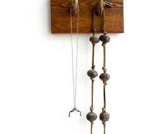 Antler and Wood Rack - Two natural tines on Wooden Base - Keys, Jewelry
