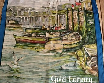 """Vintage 50s Blue Thirkell Painted Art Harbour Boat Scene Rolled Silk Scarf 30"""""""