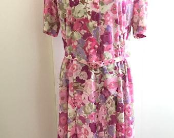 vintage80s curvy pink floral tea dress
