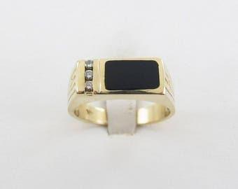 14K Yellow Gold Men's Diamond And Onyx Ring, 14k Gold Men's Gemstones Ring Size 11