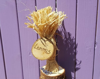 Lammas Altar,  Dried Lavender, Pagan Harvest Decor, Lughnasadh Celebration, Wiccan Home, Wheat Sheaf Trinket, Raffia Decoration, Pagan Gift