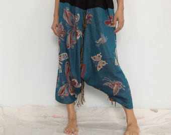 Touch Soft Silk..Blue Soft Silk Harem Pants with Butterfly patterned (HR-600)
