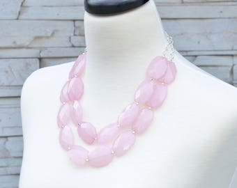 Blush Pink Statement Necklace - Simple Multi strand Beaded Necklace - Pink Wedding Jewelry - Bridal Party Gifts - Bridal Bridesmaid Jewelry