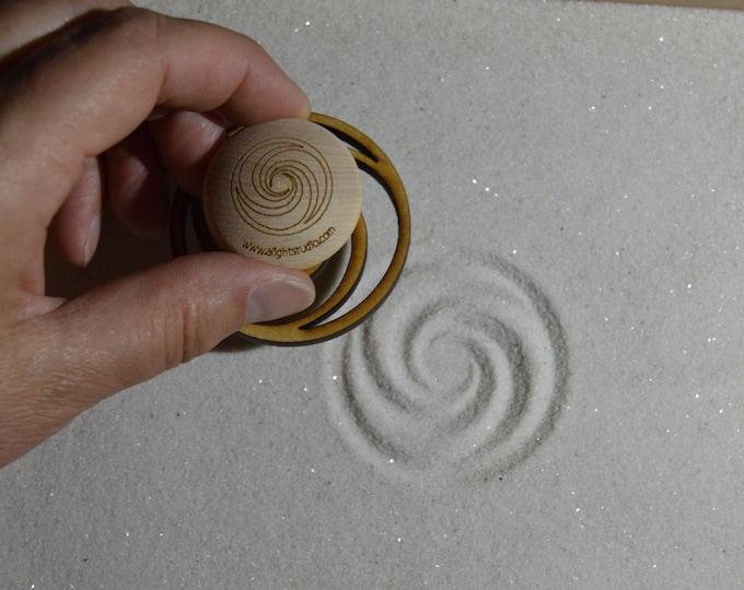 Sand Stamp, Triple Fibonacci Design, Zen Garden Stamp