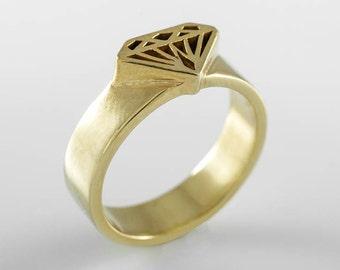 gold signet Ring, diamond shape, Gold signet ring, Diamond monogram signet ring, Diamond silhouette ring, Diamond signet ring, Diamond ring
