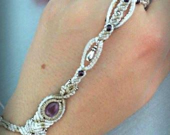 Amethyst Macrame ring bracelet\handmade micromacrame