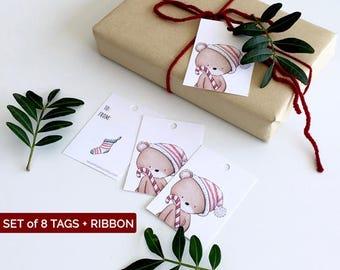 Christmas Hang Tags, Gift wrap set of 8 Tags, Woodland Christmas, Handmade gift tags set, Kids present tags