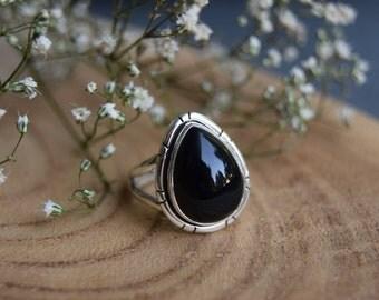 Black Onyx Ring, Sterling Silver Ring, Boho Rings, Black Onyx size 7.5, Gemstone Ring, Black Onyx Jewelry, Handmade Jewelry, Gift for women
