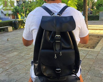Men's Leather Backpack, Sports Backpack, Black Leather Backpack, Made in Greece from Full Grain Leather, EXTRA LARGE.