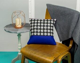 12 inch Indigo and Geometric Monochrome Print Cushion