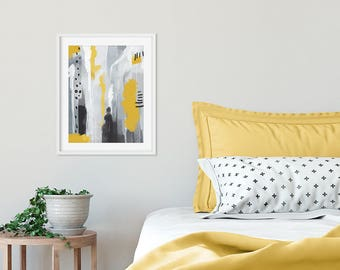 Yeallow and grey art print, bedroom wall art, Abstract and bold wall art prints for your home decor, modern art print, Scandinavian poster