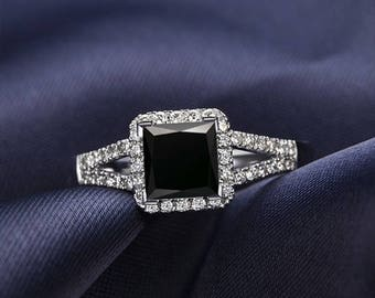 Black Diamond Engagement Ring 14k White Gold / Yellow Gold / Rose Gold Princess Black Diamond Ring Halo Engagement Ring Proposal Ring