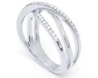 Round Cut Twisted Diamond Wedding Ring 14k White Gold or Yellow Gold Art Deco Wedding Band Diamond Ring