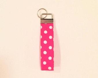 Pink key wristlet, short lanyard, Pink keychain, Pink key fob, cute keychain, fabric key wristlet, polka dot keychain, gift for her